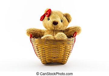 Classic teddy bear red bow in the basket - Classic teddy...