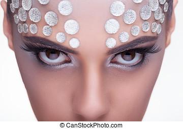 Beauty woman fashion rinhstone make up