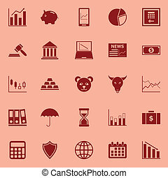 Stock market color icons on red background, stock vector