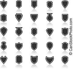 Shield icons with reflect on white background
