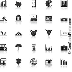 Stock market icons with reflect on white background