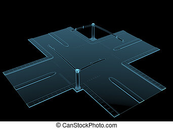 Street intersection x-ray blue transparent isolated on black