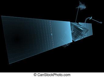 azul, satélite, espacio, aislado, negro, transparente,...