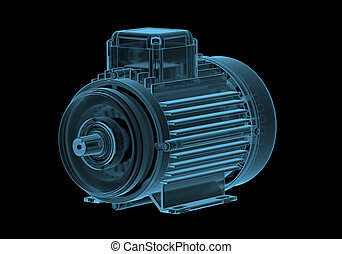 Electric motor with internals x-ray blue transparent...