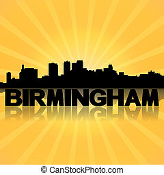 Birmingham Alabama skyline reflected with sunburst...