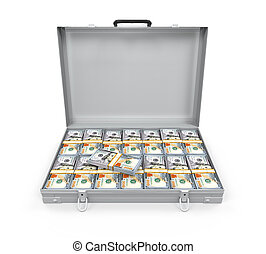 Suitcase Full of Money isolated on white background. 3D...