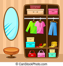 Wardrobe room. Furniture. Vector illustration