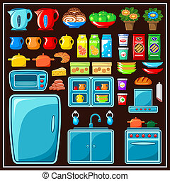 Set of kitchen furniture Kitchen items Vector illustration
