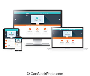 Flat fully responsive website web design in modern vectors