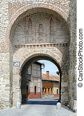 Gate and San Miguel arch walls Olmedo, Valladolid, Spain