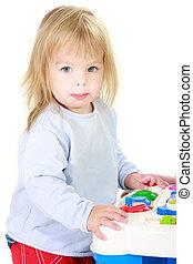 cute toddler girl over white portrait
