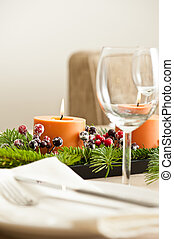 Christmas Dinner table setting in beige orange color
