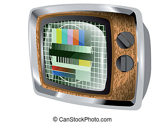 television old tv isolated on a white background