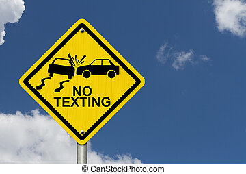 No Texting While Driving Sign, Yellow warning sign with...
