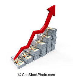 Dollar Banknotes Rising Graph - Stacks of New 100 US Dollar...