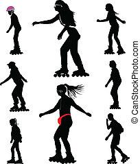rollerskating silhouette vector - rollerskating girl kid and...