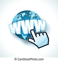 Hand cursor with www