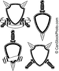 Shield and daggers - Vector illustration crossed daggers and...