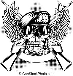 Skull in beret and two automatic guns - Vector illustration...