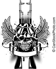 Skull in helmet and two Kalashnikov guns - Vector...