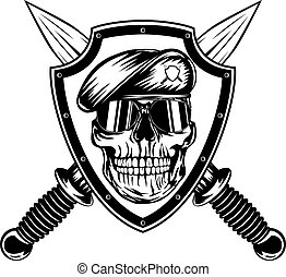 Skull in shield and daggers - Vector illustration crossed...