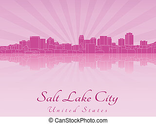 Salt Lake City skyline in purple radiant orchid in editable...