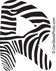 Font zebra, letter R - Font made up of zebra camouflage,...