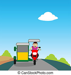 Young man driving a tricycle