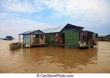 Tonle Sap lake - The village on the water. Tonle sap lake in...