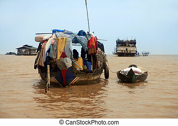 Tonle Sap lake - SIEM REAP, CAMBODIA - APRIL 06: An...