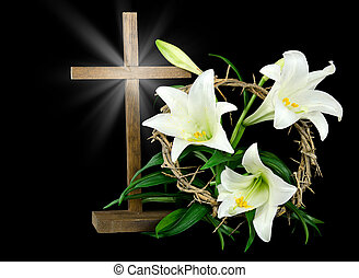 Easter cross with light rays - Wooden cross with crown of...