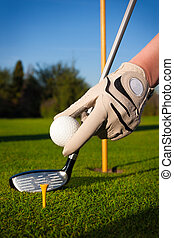 Hand hold golf ball with tee on cou