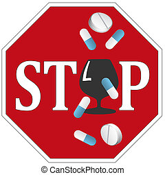 Stop Alcohol with Drugs - Sign and concept not to mix...