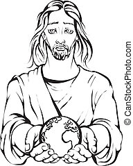 Jesus holding the hand planet Earts - Black and white...