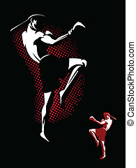 Kickboxer Illustration - Illustration of a Muay Thai Fighter...