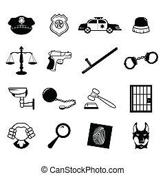 ley, aplicación, iconos