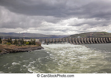 The Dalles Dam on Columbia River Gorge between Washington...