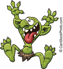 Crazy troll - Crazy cartoon troll Vector clip art...