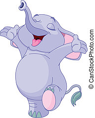 Happy Baby Elephant  - Illustration of happy baby elephant