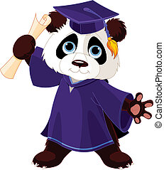 Panda Graduates - Illustration of cute panda graduates