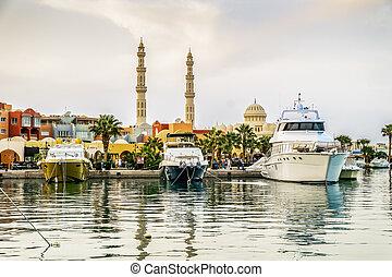 Yachts berthed at the port of Hurghada, Hurghada Marina at...