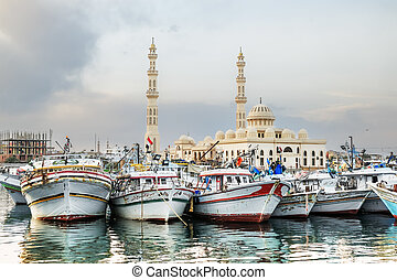 Yachts berthed at the port of Hurghada, Hurghada Marina at...