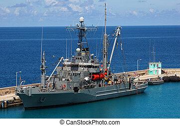 eau, militaire, Américain, Antilles, bateau