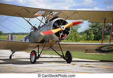 Vintage airplane in sunny day - Vintage airplane taxing to...