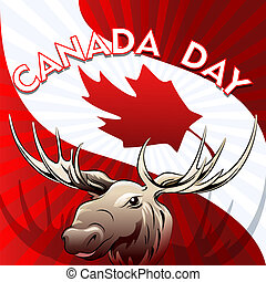 Canada Day card - Illustration of moose against national...