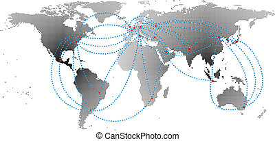 aero ways in the business world map background vector
