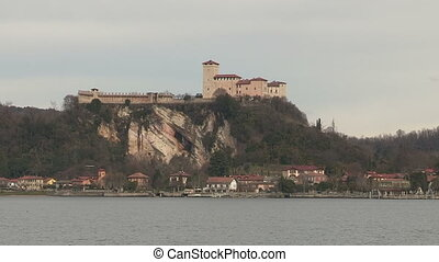 Castle on hill on Lake Maggiore, Italy