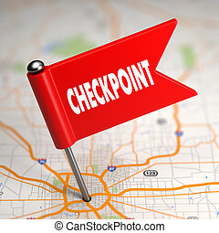 Checkpoint - Small Flag on a Map Background. - Checkpoint...