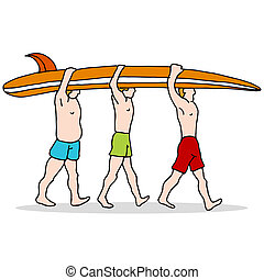 People Carrying Surfboard - An image of three people...