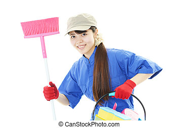 Smiling cleaner woman.